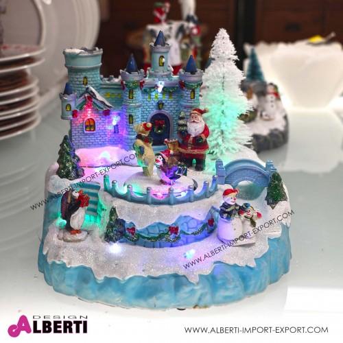 Villaggio Natale led con castello e pista di pattinaggio che gira 20x20x18H