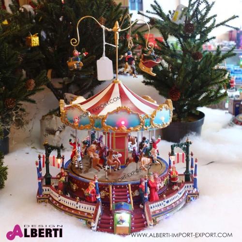 Giostra animata a cavalli Natale con luci Ø 25cm