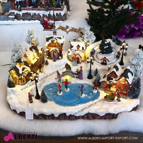 Villaggio invernale animato con casette e pista pattinaggio51x38x32