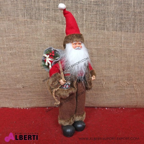 Pupazzo Babbo Natale con sacco doni H40cm