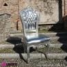 962 BCP250_a Sedia barocco Parigi argento con pelle eco argento