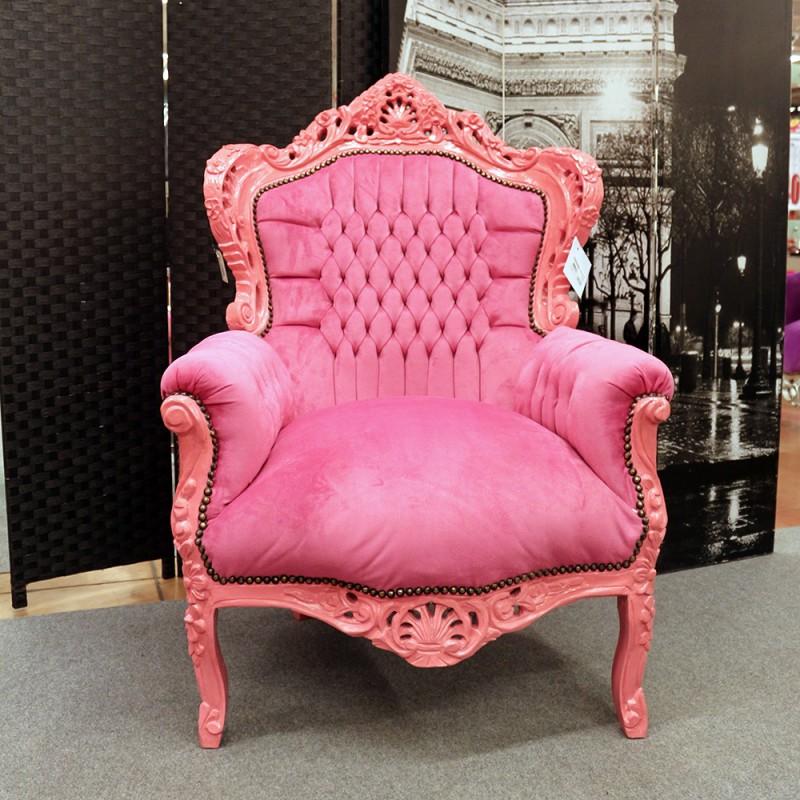 Poltrona Barocca In Plastica.Poltrona Marsiglia Barocco Rosa Con Tessuto Rosa Alberti Design