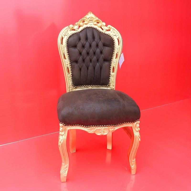 962 BGPARG^B_a Sedia barocco Parigi oro con tessuto marrone
