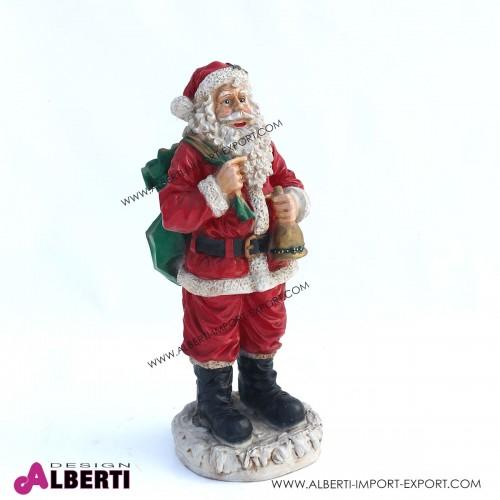 Babbo Natale in vetro resina con sacco e campana H70