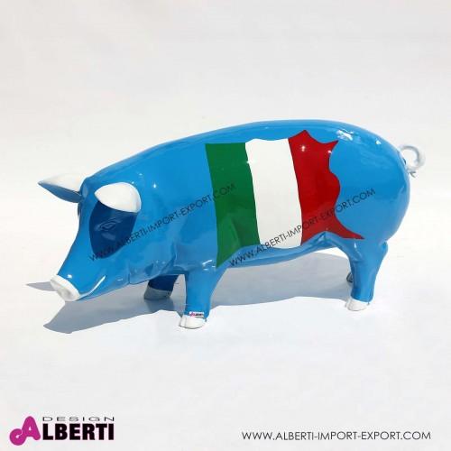 Maiale in vetro resina blu ITALIA H49 cm