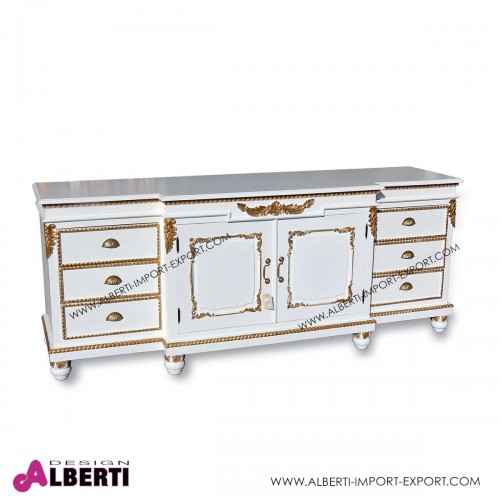 Mobile barocco white con decorazioni gold L 200 x h 82 cm