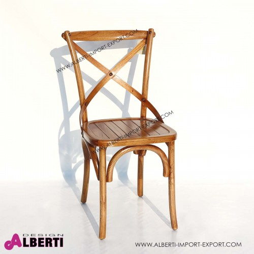 Sedia coloniale in legno con schienale intrecciato