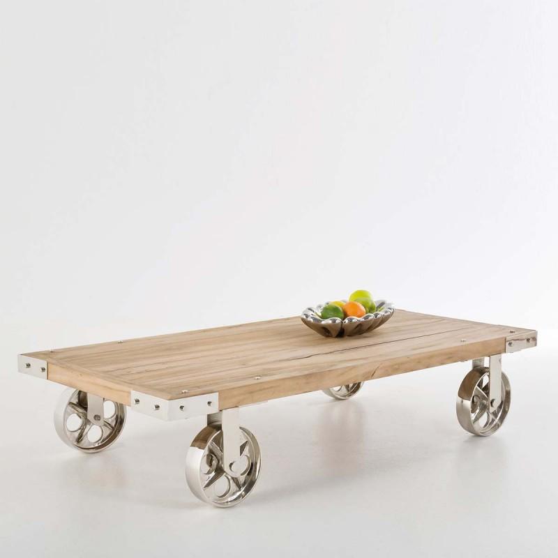 Tavolino VINTAGE legno di teak con ruote in metallo 140x70xH28