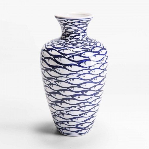 Vaso bianco con pesci dipinti blu d19x35cm