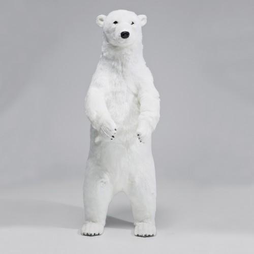 Orso Polare bianco in piedi con pelo H83cm