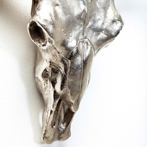 962 KA34395_b Teschio bisonte in metallo da muro Skull Horn, 76x65x28
