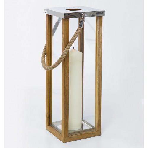 Lanterna rettangolare silver teak e corda H 69cm