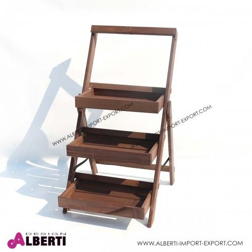 Portavasi 3 piani pieghevole in legno 54x56xh100cm