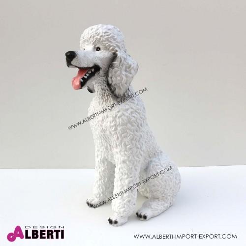 Cane barboncino bianco in vetro resina H62 cm