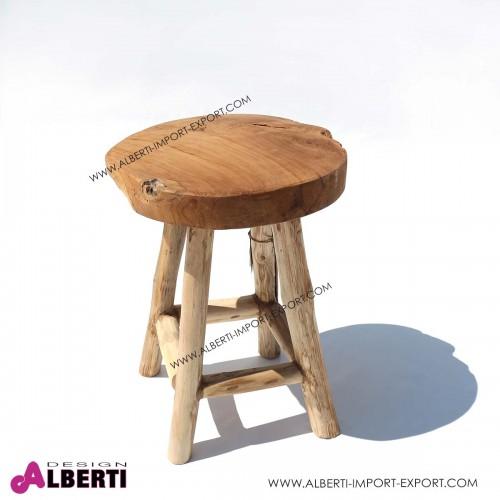 Sgabello rotondo in legno naturale H 42cm