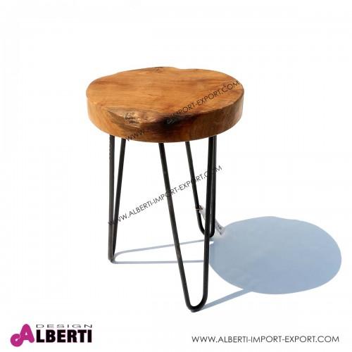 Sgabello rotondo legno/metallo H 42cm