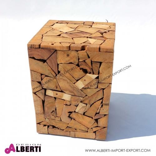 Sgabello/tavolino rettangolare in legno di teak 30x30x40cm
