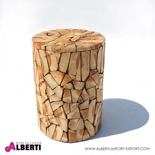 Sgabello tavolino rotondo in legno di teak Ø 30xh40cm