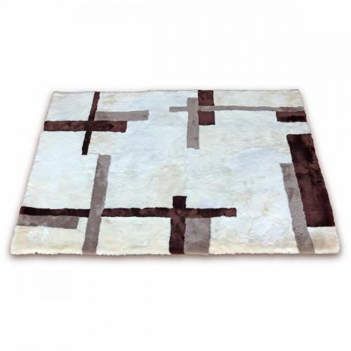 Tappeto in pelo di pecora tosata e conciata con disegni geometrici 240x170 cm