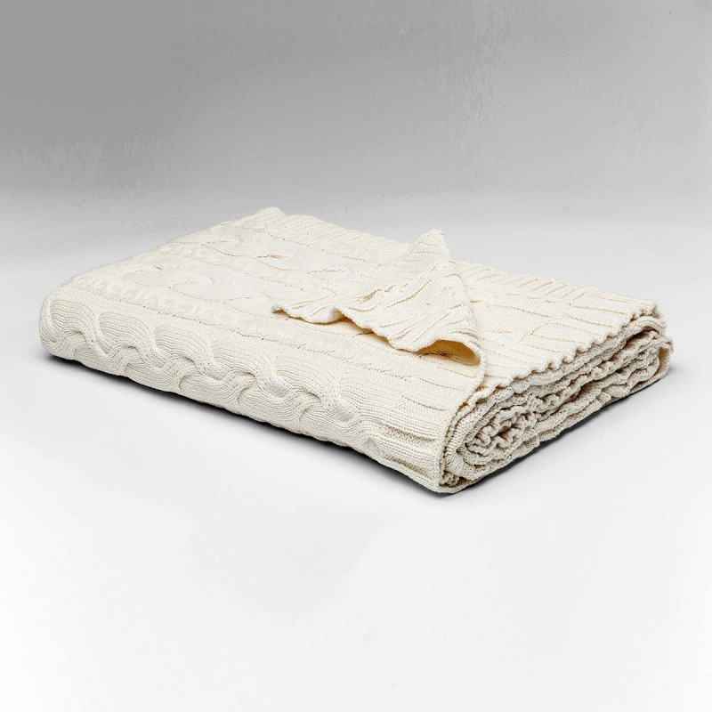 962 KA39123_a Plaid Knit bianco 140x200cm