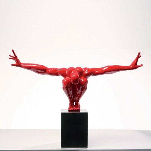 962 KA68235_a Scultura design Atleta rosso 75x23x42cm