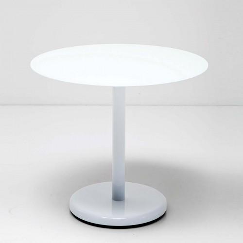 Tavolino rotondo con piano in vetro Circle 44,5x50x50bianco