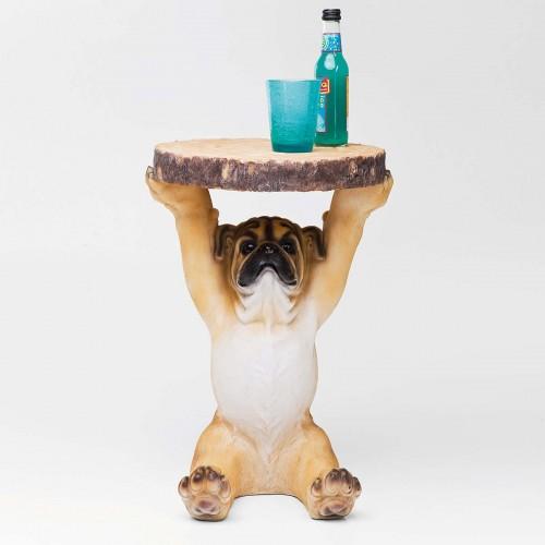 Tavolino d'appoggio rotondo a forma di cane  Mops Ø 35cm