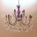 Lampadario in stile viola e trasparente 12 luci d70 h60 cm