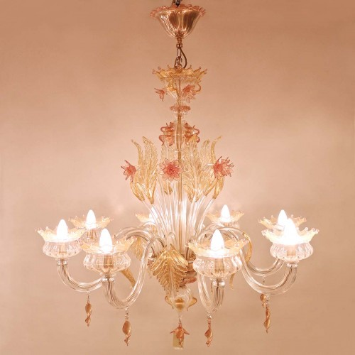 Lampadario Murrina 8 luci rosa/oro puccini s8