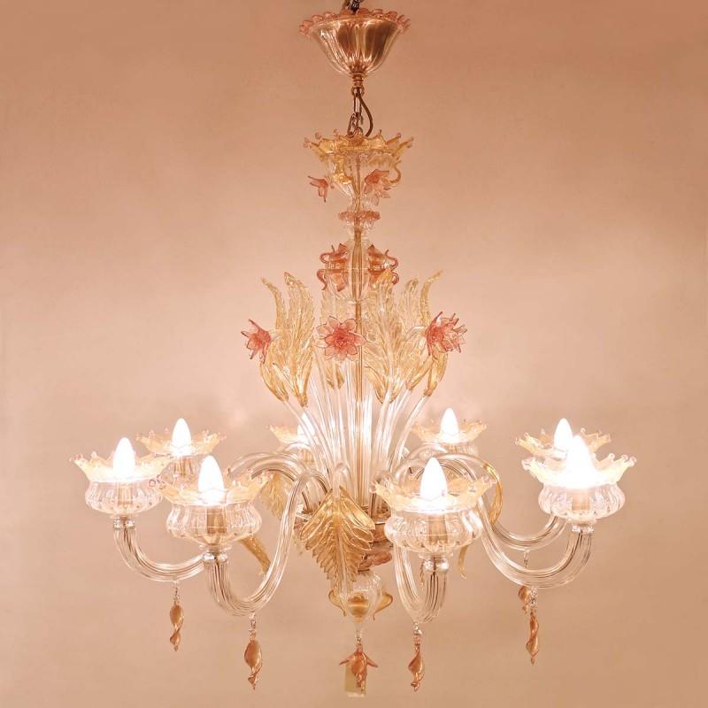 962 COMURINA8_a lampadario murrina 8luci rosa/oropuccini s8