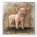 Quadro in ferro Iron Piggy 80x80x6cm
