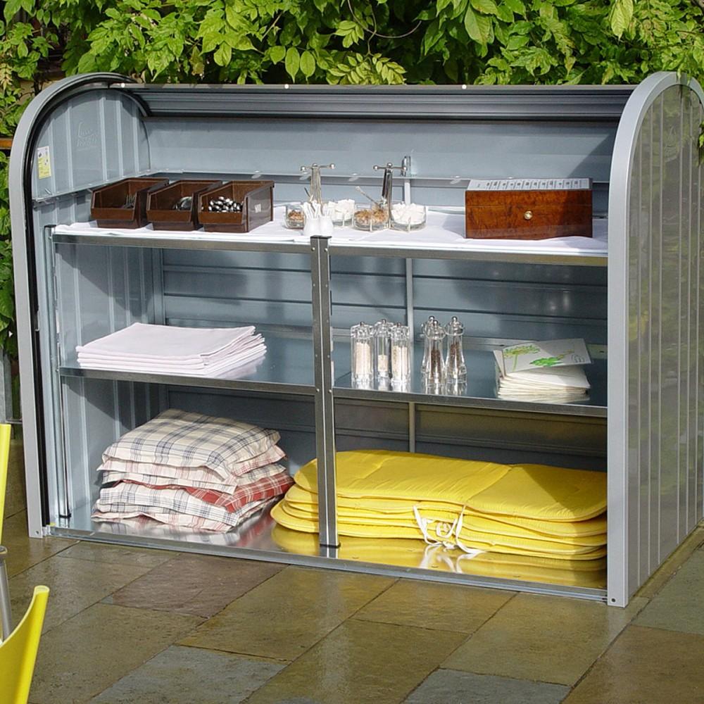 Maxi baule a serrande in metallo per giardino alberti design for Mobili per giardino