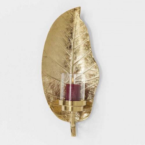 962 KA39896_a Candelabro Leaf oro 25x17x56cm