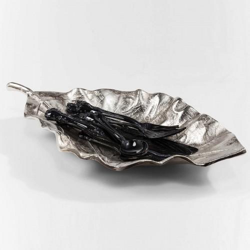 Centro tavola a foglia deco argento L 45 cm