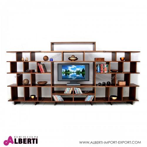 961 TAAK16MDB_a Libreria in legno di acacia con porta TV al centro WATCH-ME  L 380 cm