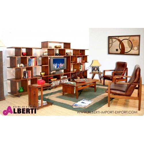 961 TAAK16MDB_b Libreria in legno di acacia con porta TV al centro WATCH-ME  L 380 cm