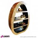 Libreria ovale con 4 ripiani in fibra naturale resinata MORK 107x45xh161 cm
