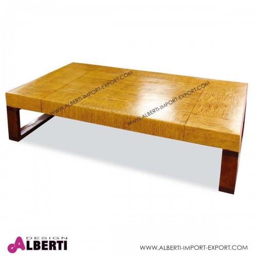 Tavolo caffè rettangolare con gambe in legno e top in fibra naturale resinata 180x100