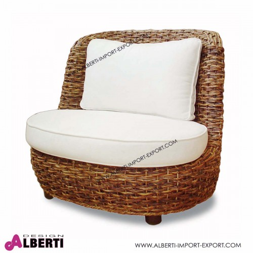 Poltrona in fibra naturale Monica con cuscino bianco L 95cm