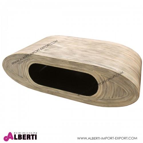 Tavolino da salotto ovale chiaro in fibra naturale resinata OB-LUNG RT 120x60