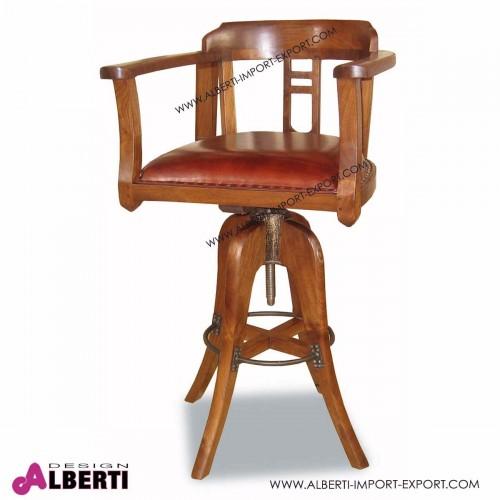 Sgabello girevole JIMMY in legno di teak e seduta in pelle