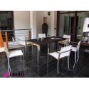 Tavolo VENUS inox e doghe in legno spazzolato180x90x75