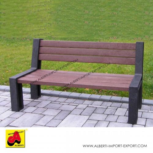 Panchina minimal 195 cm con schienale in plastica riciclata