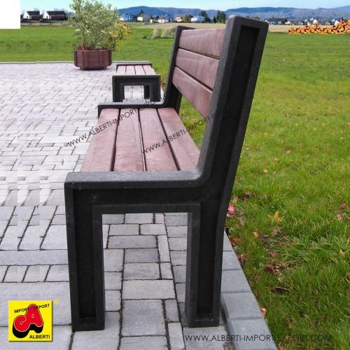 939 HPL10180_b Panchina Hyde Park 195 cm marronecon schienale pvc riciclato