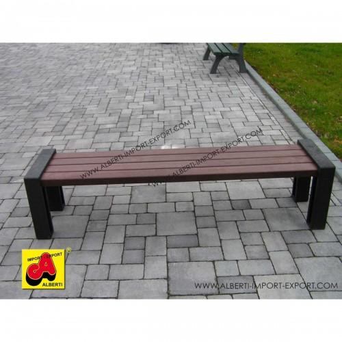 Panchina minimal 195 cm senza schienale in plastica riciclata