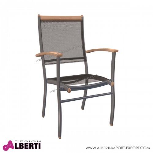 Poltrona ALTEA impilabile in alluminio e textilene  70x70x74