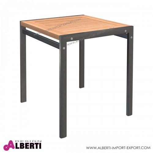 Tavolo ALTEA quadrato in alluminio e teak 70x70