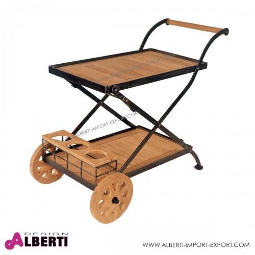 Carrello pieghevole in teak e ferro con ruote Longlife120x80x74