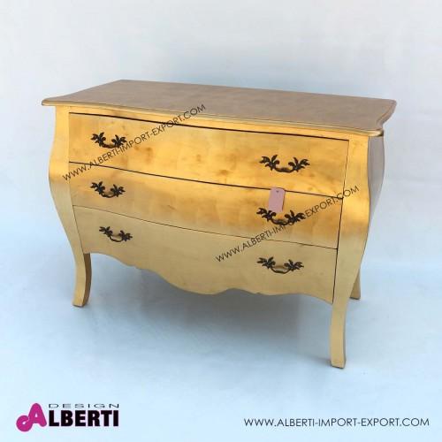 Comò barocco foglia oro con 3 cassetti 120x60x85 cm