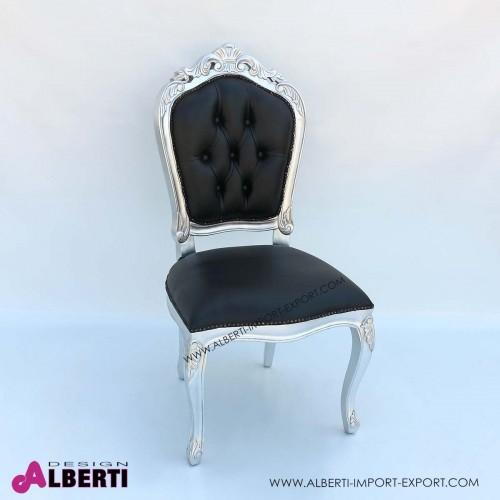Sedia barocco Parigi plus foglia argento con eco pelle nera
